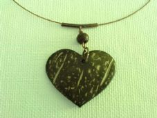 Coconut shell heart necklace